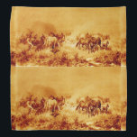 "HORSES GRAZING ,Antique Orange Yellow Brown Bandana<br><div class=""desc"">Elegant and classic vintage fine art elaboration from 18th century Polish painting.</div>"
