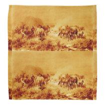HORSES GRAZING ,Antique Orange Yellow Brown Bandana
