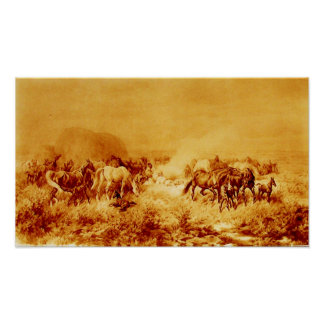 HORSES GRAZING Antique Orange Yellow Brown Sepia Poster