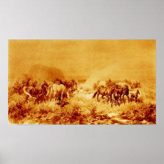 HORSES GRAZING Antique Orange Yellow Brown Sepia Poster