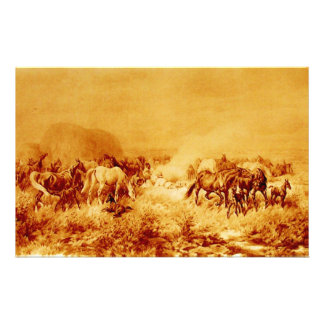 HORSES GRAZING Antique Orange Yellow Brown Sepia Stationery