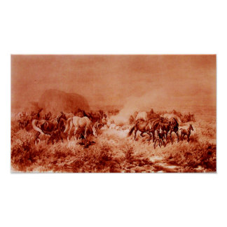HORSES GRAZING Antique Red Brown Pink Poster