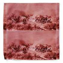 HORSES GRAZING ,Antique Red Pink Bandana