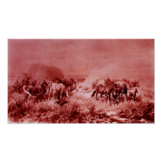 HORSES GRAZING Antique Red Pink Print