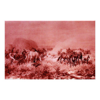 HORSES GRAZING Antique Red Pink Stationery