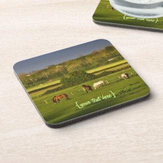 Horses grazing at Bower Hinton, Somerset Drink Coaster