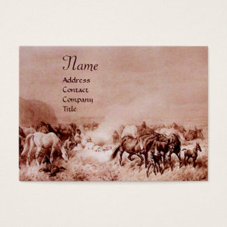 HORSES GRAZING ,brown sepia Business Card