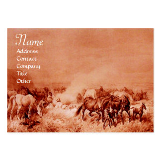HORSES GRAZING ,brown sepia Large Business Card