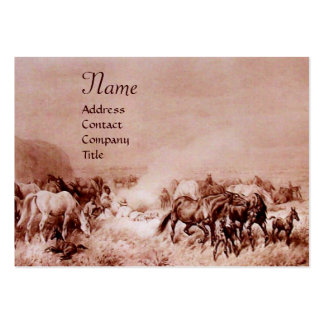 HORSES GRAZING ,brown sepia Large Business Cards (Pack Of 100)