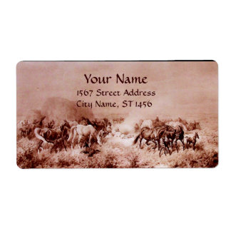 HORSES GRAZING ,brown sepia Shipping Label