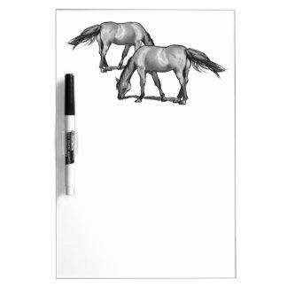 Horses Grazing: Charcoal Sketch: Art Dry-Erase Board