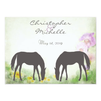 "Horses Grazing Equestrian Wedding Invitation 5.5"" X 7.5"" Invitation Card"