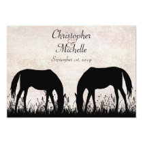 Horses Grazing Equestrian Wedding Invitation