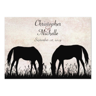 "Horses Grazing Equestrian Wedding Invitation 5"" X 7"" Invitation Card"