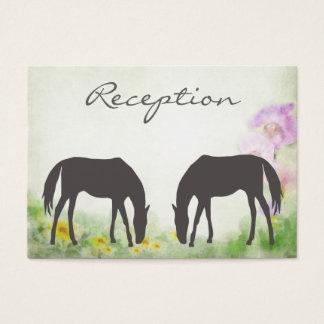 Horses Grazing Equestrian Wedding Reception Card