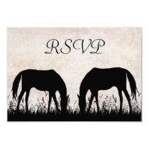 Horses Grazing Equestrian Wedding RSVP Card