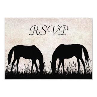 Horses Grazing Equestrian Wedding RSVP Card Custom Announcements