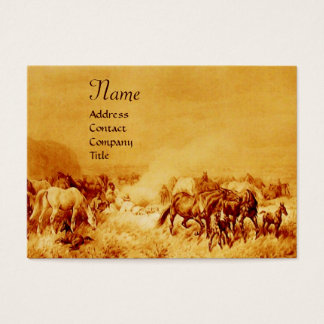 HORSES GRAZING , gold brown sepia Business Card