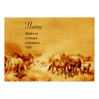 HORSES GRAZING , gold brown sepia Large Business Card
