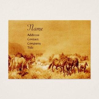HORSES GRAZING , gold metallic, brown seppia Business Card