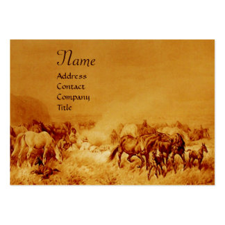 HORSES GRAZING , gold metallic, brown seppia Large Business Card
