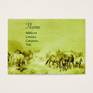 HORSES GRAZING  green Business Card
