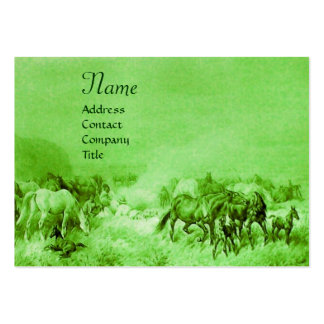 HORSES GRAZING  green Large Business Card