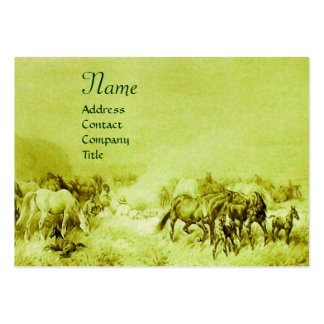 HORSES GRAZING  green Large Business Cards (Pack Of 100)