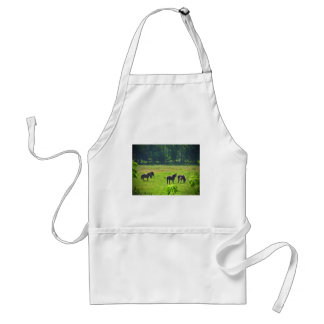 Horses Grazing in The Green Pasture Adult Apron