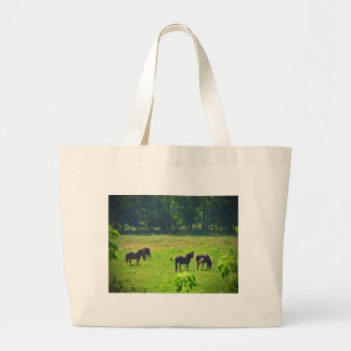 Horses Grazing in The Green Pasture Jumbo Tote Bag