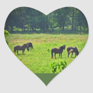 Horses Grazing in The Green Pasture Heart Sticker