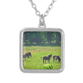 Horses Grazing in The Green Pasture Pendants