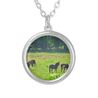 Horses Grazing in The Green Pasture Necklaces