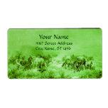 HORSES GRAZING Light Green Labels