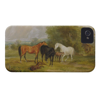 Horses Grazing Mares and Foals in a Field oil on iPhone 4 Case-Mate Cases