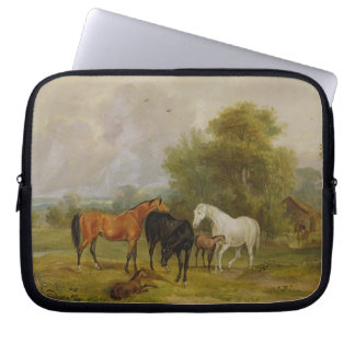 Horses Grazing: Mares and Foals in a Field (oil on Laptop Sleeve