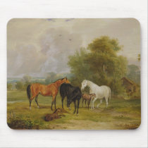 Horses Grazing: Mares and Foals in a Field (oil on Mouse Pad