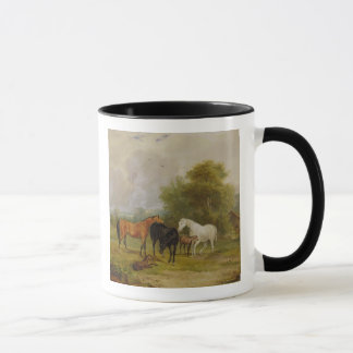Horses Grazing: Mares and Foals in a Field (oil on Mug