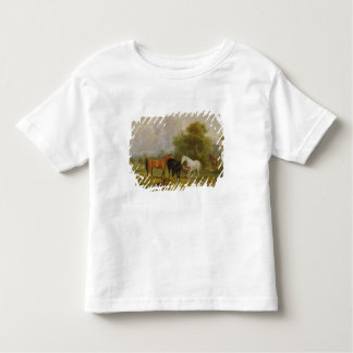 Horses Grazing: Mares and Foals in a Field (oil on T Shirt
