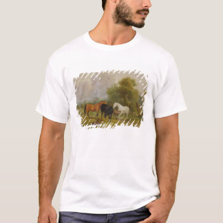 Horses Grazing: Mares and Foals in a Field (oil on T-Shirt
