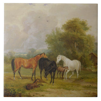 Horses Grazing: Mares and Foals in a Field (oil on Tile