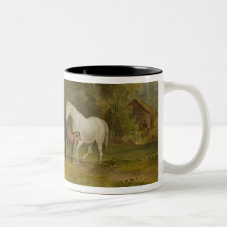 Horses Grazing: Mares and Foals in a Field (oil on Two-Tone Coffee Mug