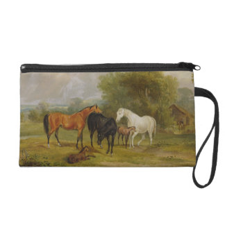 Horses Grazing: Mares and Foals in a Field (oil on Wristlet