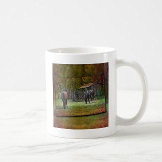 Horses grazing basic white mug