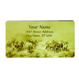 HORSES GRAZING Olive Green Shipping Label