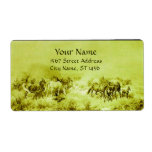 HORSES GRAZING Olive Green Labels