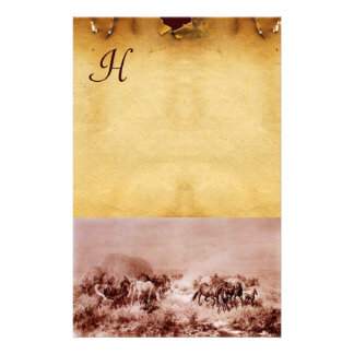 HORSES GRAZING PARCHMENT MONOGRAM Brown Sepia Stationery