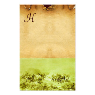 HORSES GRAZING PARCHMENT MONOGRAM Green Brown Stationery
