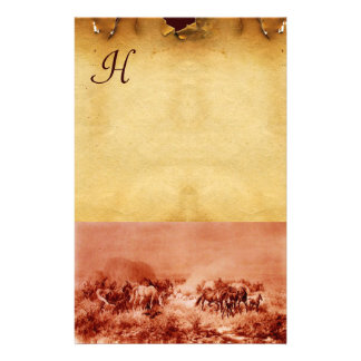 HORSES GRAZING PARCHMENT MONOGRAM Red Brown Sepia Stationery