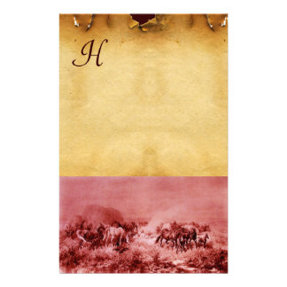 HORSES GRAZING PARCHMENT MONOGRAM Red Brown Stationery
